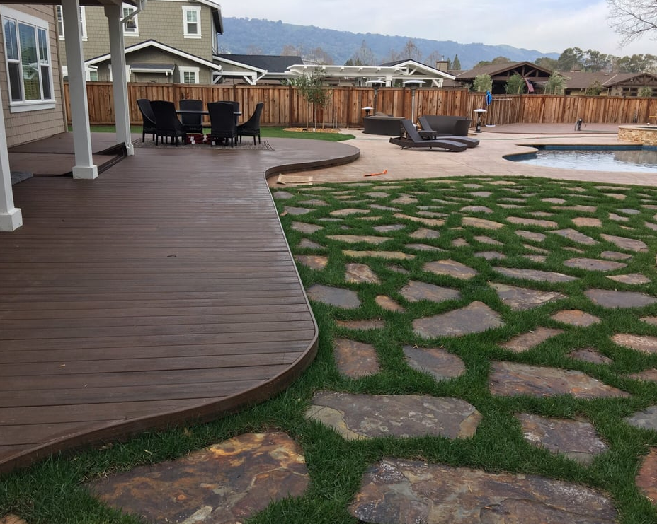 this image shows concrete patio wood patio laguna niguel